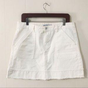 Zara Basic white denim raw hem skirt (L)